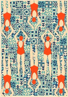Swimmers pattern papercut by www.lou-taylor.co.uk
