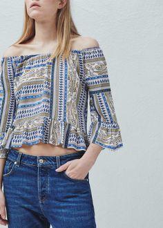 Scarf print blouse - Shirts for Woman   MANGO Malaysia