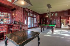 Joe Cocker Estate: Billiard Room - A billiard room is just beyond the library and features a full-sized wet bar.