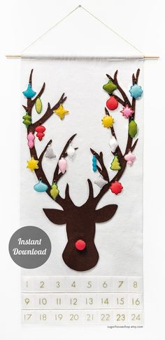 DIY Reindeer Advent Calendar with downloadable instructions