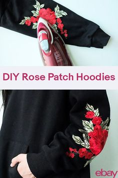 Hoodies are super comfy and back on-trend and so is embroidery and patches. Why not combine both for the trendiest look possible this spring? Grab your iron and get ready for a little DIY rose patch fashion project that's low-cost but will look super high-end. You'll be runway-ready as you run out to do errands.