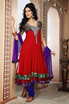 Exotic Crimson Salwar Kameez | StylishKart.com