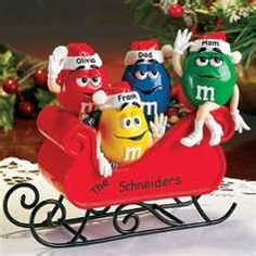 Sleigh Figurine Family Christmas Gifts, Personalized Christmas Gifts, Gifts For Family, Merry Christmas, Halloween Before Christmas, M&m Characters, M M Candy, Favorite Candy, Gingerbread Man