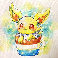 Jolteon in a Cup Kawaii Chibi, Cute Chibi, Kawaii Art, Anime Chibi, Cute Animal Drawings Kawaii, Kawaii Drawings, Cute Drawings, Pokemon Eeveelutions, Eevee Evolutions