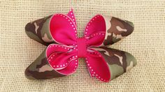 hot pink camo hair bow inside out loop bow by BurstingCocoonStudio, $10.00