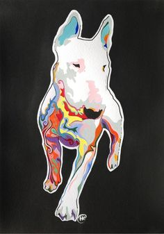 English Bull Terrier full body colour swirls by Helenclaireart, £9.99