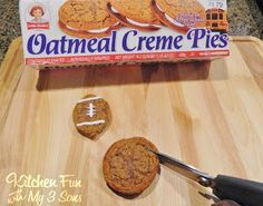 Shortcut Oatmeal Creme Football Pies made from Little Debbie Oatmeal Creme Pies