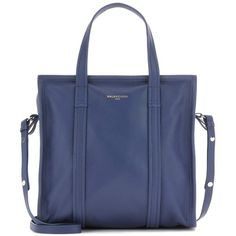 Balenciaga Bazar Small Leather Tote (1 985 AUD) ❤ liked on Polyvore featuring bags, handbags, tote bags, blue, totes, blue leather tote, balenciaga tote, genuine leather handbags, leather tote purse and tote handbags