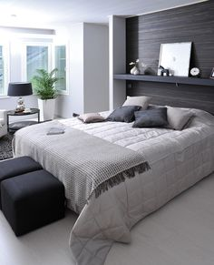 Love the accented wall behind the bed! Bedroom Themes, Bedroom Ideas, Home Bedroom, Master Bedrooms, Cozy House, My Room, Decoration, Interior Inspiration, Home Goods