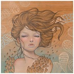"""Just Like You"" by Audrey Kawasaki oil and graphite on wood panel 12""x12"" (2010)"