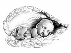 """Sleeping Baby"" by Lauren Eldridge-Murray - Drawing of the sleeping angel . - ""Sleeping Baby"" by Lauren Eldridge-Murray – Drawing of the sleeping angel baby Lauren Eldridge-Mu - Baby Engel Tattoo, Engel Tattoos, Bild Tattoos, Body Art Tattoos, Tatoos, Sleeping Drawing, Baby Drawing, Baby Memorial Tattoos, Miscarriage Tattoo"