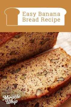 Check out the secret ingredient that, along with the ripe bananas, makes this easy banana bread recipe super moist. (Hint: It's a sandwich fave. Cake Candy, Muffins, Easy Banana Bread, Pudding, Party Desserts, Fall Desserts, Banana Bread Recipes, Healthy Dessert Recipes, Sweet Bread