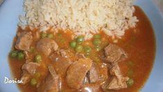 Fotorecept: Bravčové na hrášku so slovenskou ryžou Pork, Beef, Chicken, Kale Stir Fry, Meat, Pork Chops, Steak, Cubs