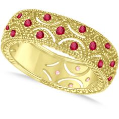 Allurez Ruby Milgrain Vintage Eternity Band 14k Yellow Gold (0.38ct) ($955) ❤ liked on Polyvore featuring jewelry, rings, vintage style wedding rings, vintage gold rings, gold stacking rings, 14k yellow gold ring and ruby ring