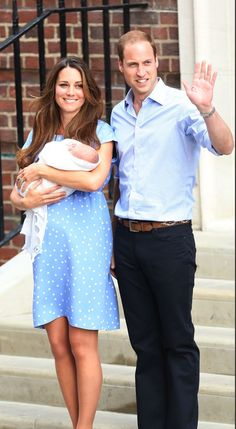 New parents Prince William and Catherine, Duchess Of Cambridge leave hospital with their new bundle of joy on July 23rd, 2013, a day after the royal baby arrived at London's St. Mary's Hospital.