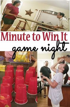 """We had a get together with a bunch of friends and did a """"Minute to Win It"""" theme! It was SO much fun. We laughed and laughed. Here are some ideas on how to throw a minute-to-win it game night!"""