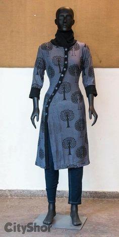 Different types of kurtis designs - Simple Craft Ideas Churidar Designs, Kurti Neck Designs, Dress Neck Designs, Blouse Designs, India Fashion, Boho Fashion, Fashion Online, Winter Fashion, Simple Kurti Designs
