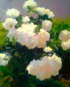 "Dennis Perrin ""Paoenia Brilliantus"" oil on canvas"
