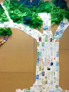 Student tree drawings on index cards to make the truck of the tree.