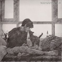 """Good morning to you too, Chairman.""  ...  Drawn by theonetruenorth ...   alexander 'alec' lightwood, shadowhunters, the mortal instruments, chairman meow"