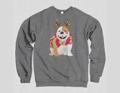 English Bulldog Christmas Sweatshirt | Festive Christmas Sweater Holiday Dog Portrait Crew Neck Long Sleeve Dog Lover's Sweater