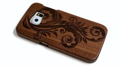 wooden Samsung Galaxy S6 case - real wood S6 case walnut / cherry or bamboo -  Flower