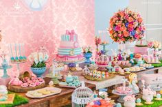 Festa Alice mesa menina rosa table party girl pink flowers