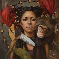 Magnolia ll by Sophie Wilkins Black Art Painting, Black Artwork, Fantasy Paintings, Fantasy Art, Art Afro, Arte Fashion, Natural Hair Art, African American Art, African Art