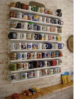 Mug Shelf...with travel mugs from around the world? yes!