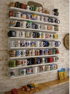 Mug Shelf...with travel mugs from around the world? yes!