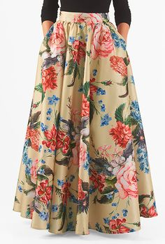 Beige gold multi skirts, day-to-evening skirts, dry clean skirts Floral Skirt Outfits, Long Floral Skirts, Floral Maxi, Long Maxi Skirts, Modest Fashion, Fashion Outfits, Emo Fashion, Dress Fashion, Evening Skirts