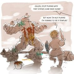 I just had to draw this after learning cullen was from honnleath XD… I don't really remember since when Shale was there but well XD it was fun to imagine cullen playing templar against it. < awwww this is too cute >-< Dragon Age Funny, Dragon Age Games, Dragon Age 2, Dragon Art, Dragon Age Origins, Dragon Age Inquisition, Skyrim, Dragon Age Characters, Dragon Age Series