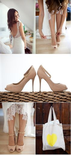 Nude shoes instead of traditional white or silver. I like.