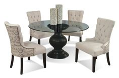 Update Your Dining Room With The Modern Elegance Of This Table And Chairs  Set. Featuring A Sophisticated Round Glass Table And Four Upholstered Side  Chairs, ...