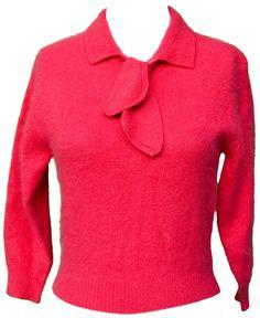 1950s Medium Sweater Angora Hot Pink Fuchsia by TopangaHiddenT