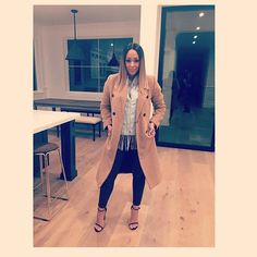 Tan coat & heels | Tia Mowry