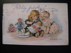 French Antique Postcard: 1910...Jenny Nysrtöm; Rolig frask ! Children with dolls