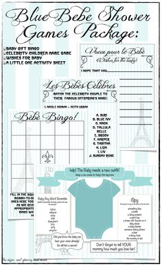 French Blue Baby Shower Game Package Le Bebe DIY by TheAffairShop, $12.50