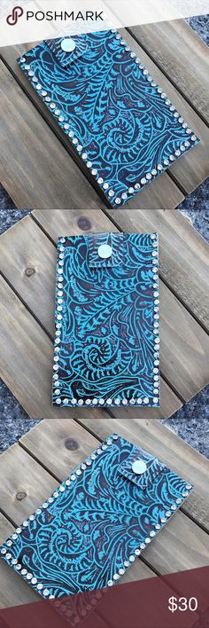 ✨🔹Leather iPhone 7plus boho phone case🔹✨ This gorgeous phone case is for the iPhone 7 plus. Made from gorgeous embossed cowhide with rustic embossing for an aged patina look. Edges have rhinestone rivets✨😍This case is handmade by me. It's one of my first phone cases ever. A few of the rivets are a little out of place/uneven in the bottom right corner. You can't tell with the phone inside though! It's very well made and sturdy! iPhone 7plus fits PERFECTLY inside of it and the leather…