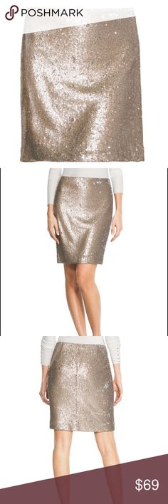 """Champagne Sequin Pencil Skirt by WHBM Embellished with hundreds of sparkling champagne-hued sequins and lined with smooth stretch knit, our sparkling pencil skirt brings the glamour. Take a laidback approach and pair with a sumptuous sweater.  Sequin pencil skirt sits at the natural waist.  Back zip with hook-and-eye close.  Fully lined.  Nylon. Dry clean only.  Approx. 20.5"""" center back length.  Imported.  Reasonable offers are always considered Smoke and pet free home No PayPalNo Trades…"""