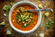 Southwestern Chicken Vegetable Soup with Spicy Cilantro Sauce