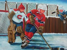 hockey Hockey Drawing, Hockey Decor, Christmas Scenes, Christmas Things, Canada Images, Wood Canvas, Sports Art, Canadian Artists, Tole Painting