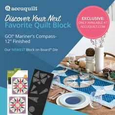 "AccuQuilt is excited to release one of the most frequently requested items to its product lineup: GO! Mariner's Compass-12"" Finished Die. This Block on Board® Die cuts a complete 5-color, 12"" Mariner's Compass block in one pass through the GO! Fabric Cutter. Start your journey. Quilt Block Patterns, Pattern Blocks, Quilt Blocks, Fabric Cutter, Compass, Marines, Quilts, Comforters, Quilt Sets"