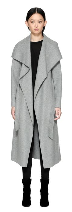 MAI BELTED WOOL COAT WITH WATERFALL COLLAR IN LIGHT GREY