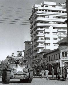 American M3 light tank in Casablanca, World War II