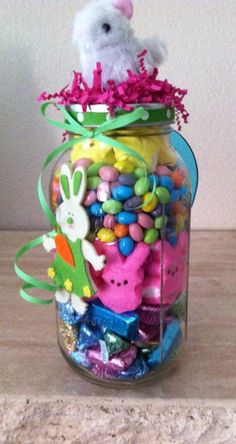 Large Easter Gift Jar Marshmallow Bunny Land. $30.00, via Etsy.