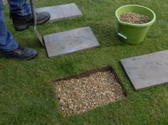 How to lay stepping stones. Creating a simple path using paving slabs. - How to lay stepping stones. Creating a simple path using paving slabs. How to lay stepping stones. Creating a simple path using paving slabs. Stepping Stone Pathway, Paving Stones, Stone Paths, Stone Walkways, Landscape Stepping Stones, Yard Stones, Stone Garden Paths, Concrete Stepping Stones, Concrete Pavers