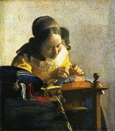 レースを編む女 (Kantklosster) 1670年頃 23.9×20.5cm 油彩・画布 ルーヴル美術館(パリ)