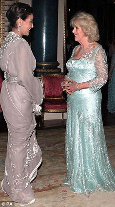 The Duchess of Cornwall (Camilla Paker-Bowles) greets Princess Lalla Meryem from the Kingdom of Morocco (Northern Africa)