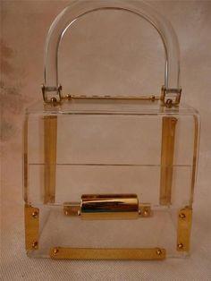 60s Clear Lucite Plastic Box Purse Vintage Handbags Purses Bags